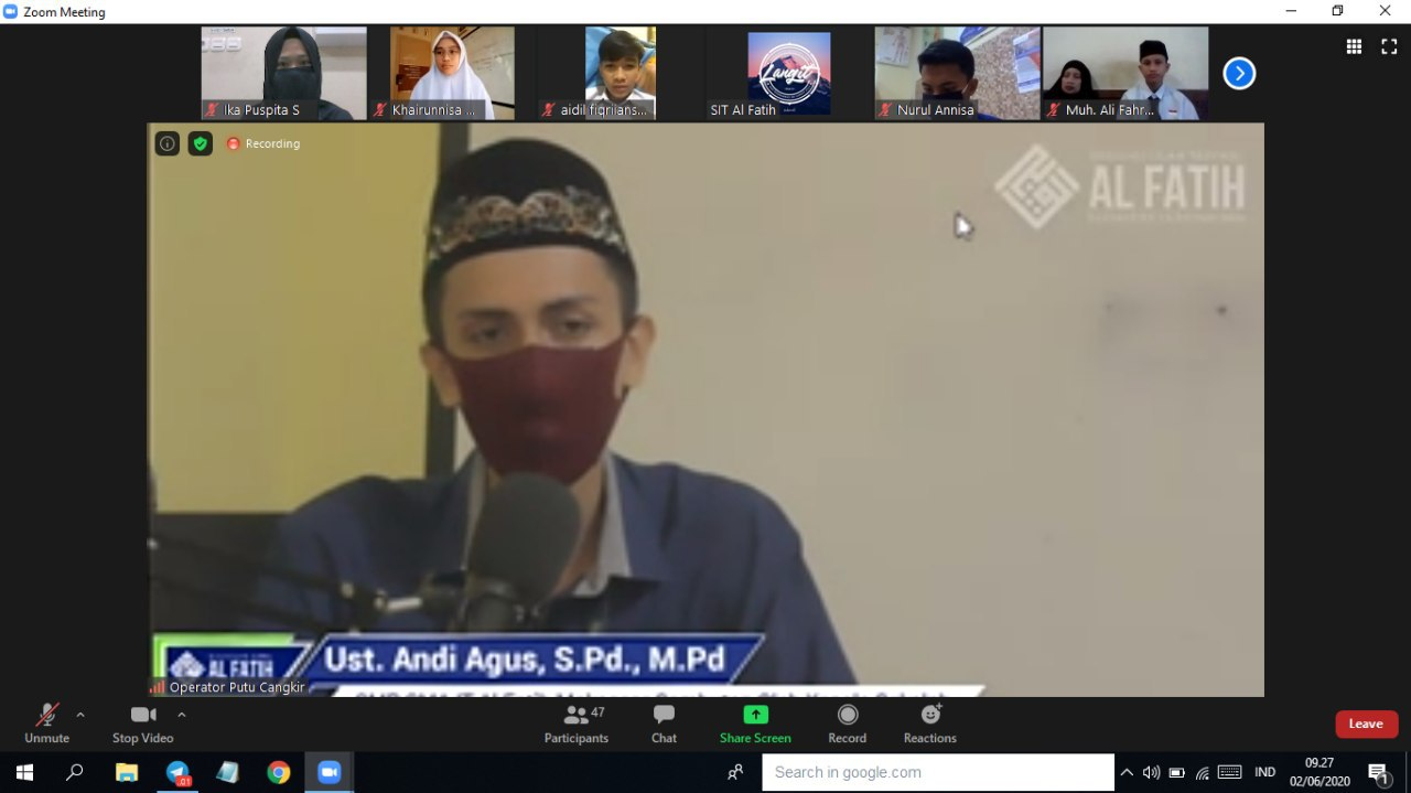Back to Learn from Home, SMP SMA IT Al Fatih adakan Halal Bi Halal Virtual